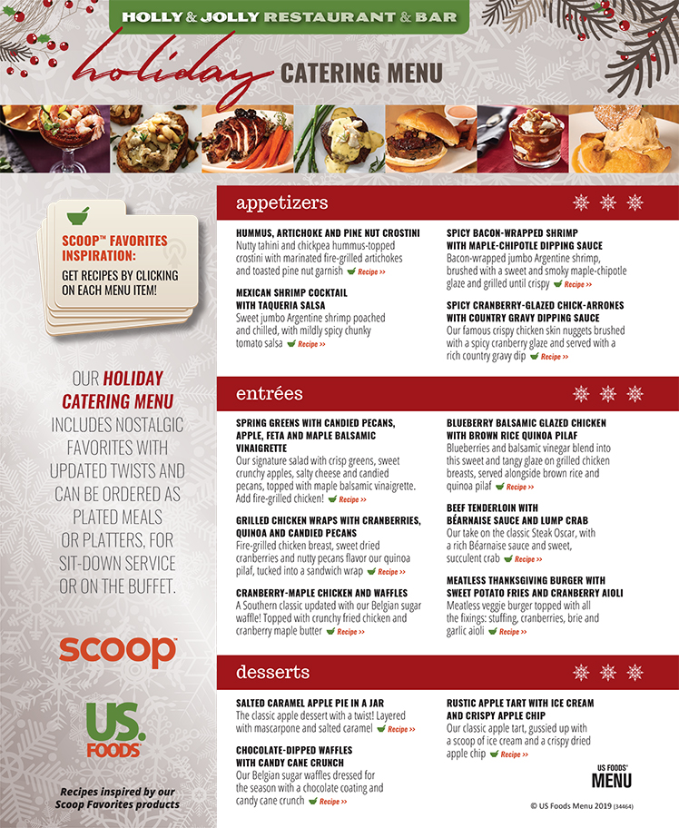 Scoop Favorites Holiday Menu