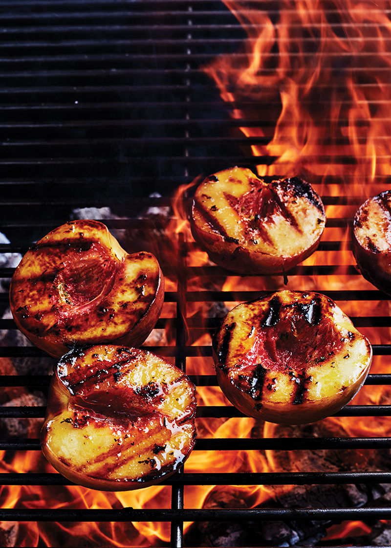 Hickory grilled peaches with