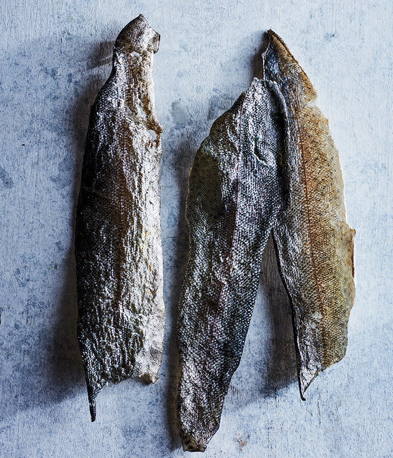 Dehydrated fish skins