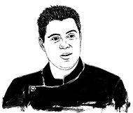 drawing of Chef Aaron Williams