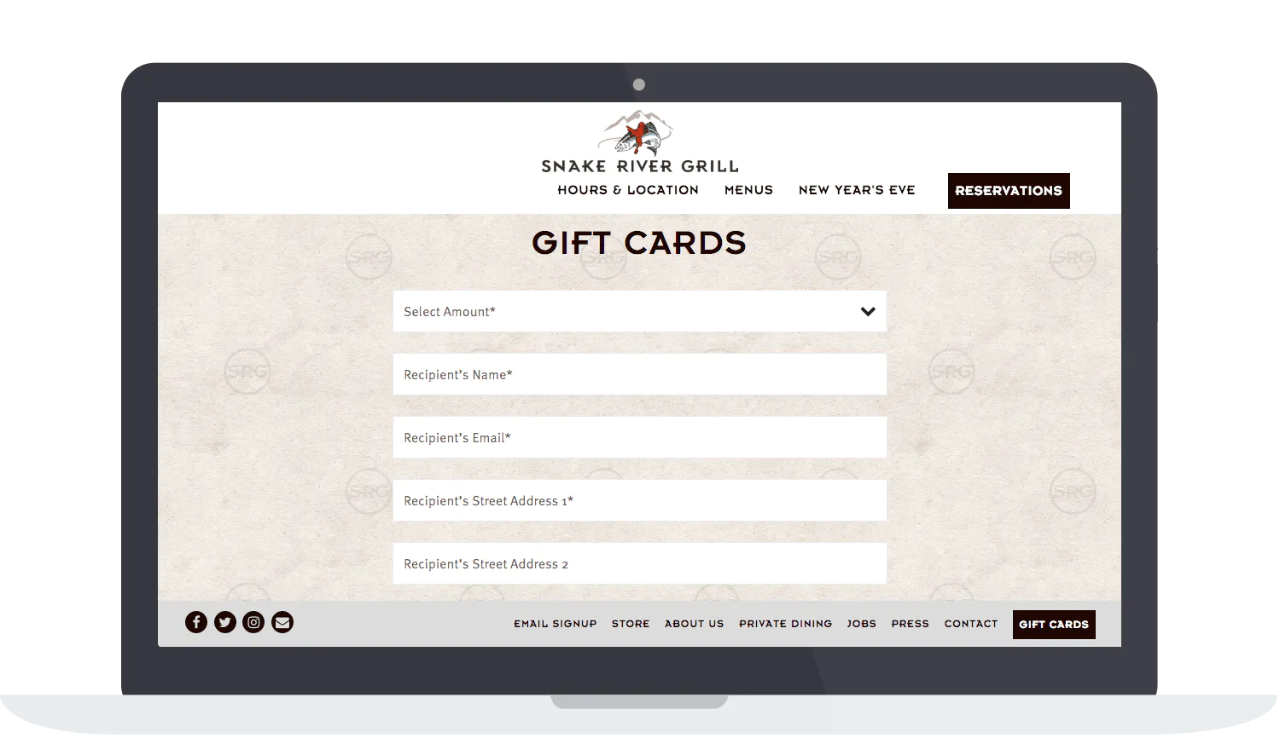 Snake River Grill sells gift cards on their restaurant website.