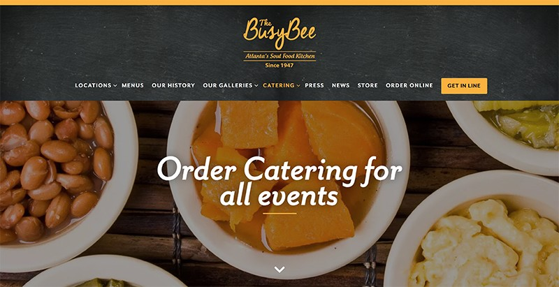Another successful restaurant is The Busy Bee in Atlanta. It has an easy-to-navigate catering and merchandising store.